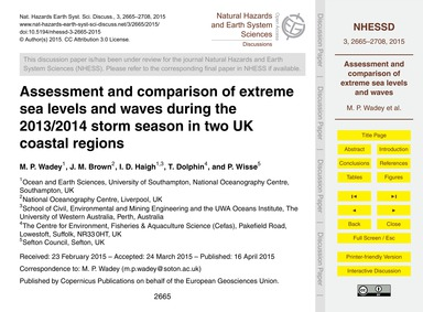 Assessment and Comparison of Extreme Sea... by Wadey, M. P.