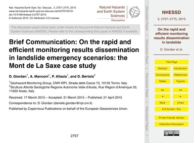 Brief Communication: on the Rapid and Ef... by Giordan, D.