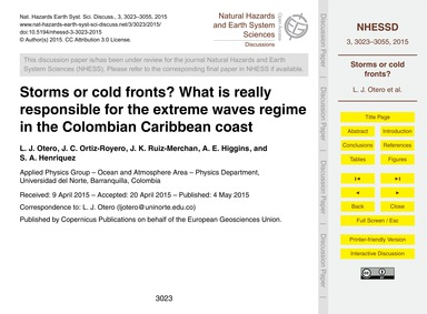 Storms or Cold Fronts? What is Really Re... by Otero, L. J.