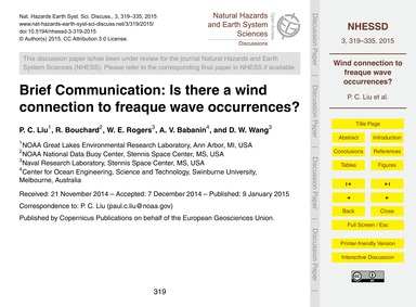 Brief Communication: is There a Wind Con... by Liu, P. C.