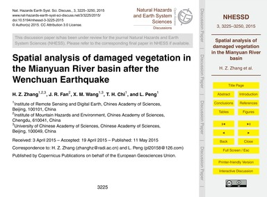 Spatial Analysis of Damaged Vegetation i... by Zhang, H. Z.