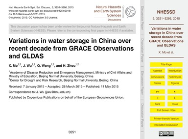 Variations in Water Storage in China Ove... by Mo, X.