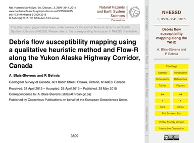 Debris Flow Susceptibility Mapping Using... by Blais-stevens, A.