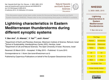 Lightning Characteristics in Eastern Med... by Ben Ami, Y.