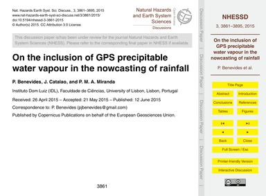 On the Inclusion of Gps Precipitable Wat... by Benevides, P.