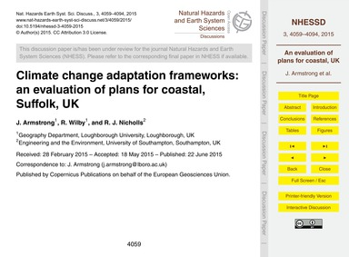 Climate Change Adaptation Frameworks: an... by Armstrong, J.