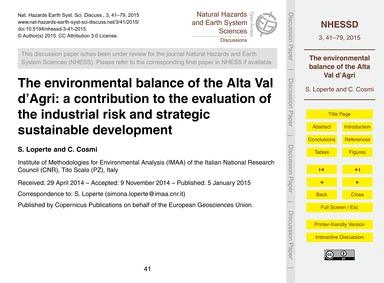 The Environmental Balance of the Alta Va... by Loperte, S.