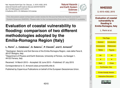 Evaluation of Coastal Vulnerability to F... by Perini, L.