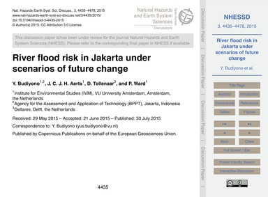 River Flood Risk in Jakarta Under Scenar... by Budiyono, Y.