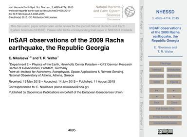 Insar Observations of the 2009 Racha Ear... by Nikolaeva, E.