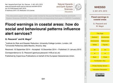 Flood Warnings in Coastal Areas: How Do ... by Pescaroli, G.