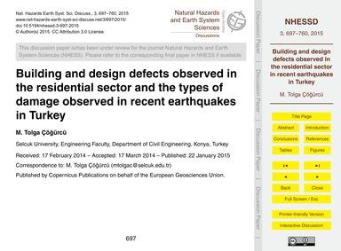 Building and Design Defects Observed in ... by Tolga Çöğürcü, M.