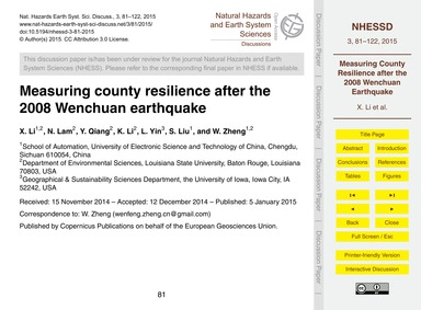 Measuring County Resilience After the 20... by Li, X.