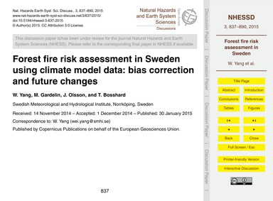 Forest Fire Risk Assessment in Sweden Us... by Yang, W.
