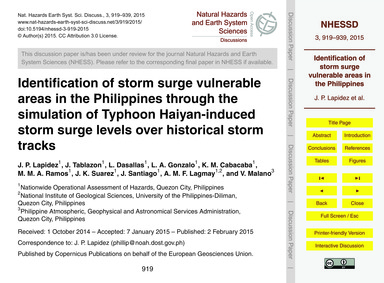 Identification of Storm Surge Vulnerable... by Lapidez, J. P.
