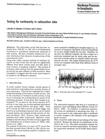 Testing for Nonlinearity in Radiocarbon ... by Kurths, J.