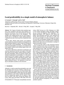 Local Predictability in a Simple Model o... by Gyarmati, G.