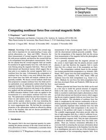 Computing Nonlinear Force Free Coronal M... by Wiegelmann, T.