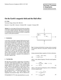 On the Earth's Magnetic Field and the Ha... by Allen, J. E.