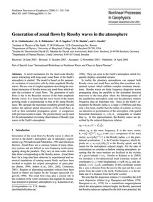 Generation of Zonal Flows by Rossby Wave... by Onishchenko, O. G.