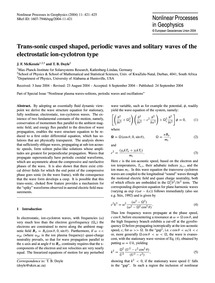 Trans-sonic Cusped Shaped, Periodic Wave... by McKenzie, J. F.
