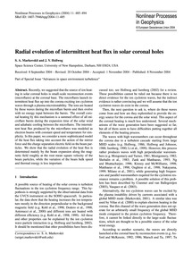 Radial Evolution of Intermittent Heat Fl... by Markovskii, S. A.