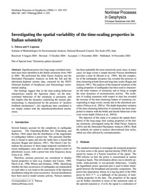 Investigating the Spatial Variability of... by Telesca, L.