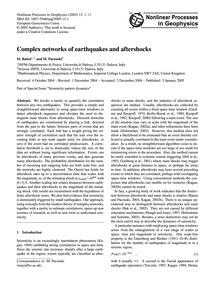 Complex Networks of Earthquakes and Afte... by Baiesi, M.