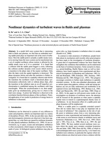 Nonlinear Dynamics of Turbulent Waves in... by He, K.