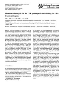 Multifractal Analysis for the Ulf Geomag... by Ida, Y.