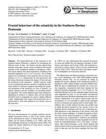 Fractal Behaviour of the Seismicity in t... by Lana, X.