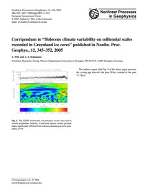 Corrigendum to Holocene Climate Variabil... by Witt, A.