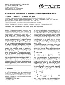 Hamiltonian Formulation of Nonlinear Tra... by Webb, G. M.
