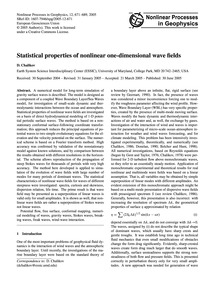 Statistical Properties of Nonlinear One-... by Chalikov, D.