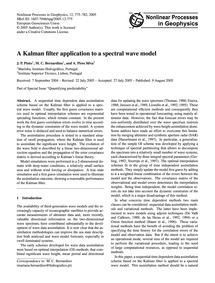 A Kalman Filter Application to a Spectra... by Pinto, J. P.