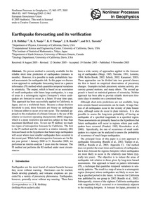 Earthquake Forecasting and Its Verificat... by Holliday, J. R.