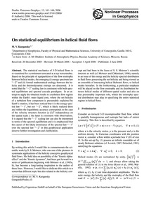 On Statistical Equilibrium in Helical Fl... by Kurgansky, M. V.
