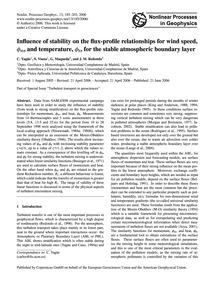 Influence of Stability on the Flux-profi... by Yagüe, C.