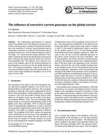 The Influence of Convective Current Gene... by Morozov, V. N.