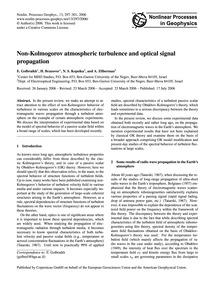 Non-kolmogorov Atmospheric Turbulence an... by Golbraikh, E.