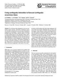 Using Earthquake Intensities to Forecast... by Holliday, J. R.
