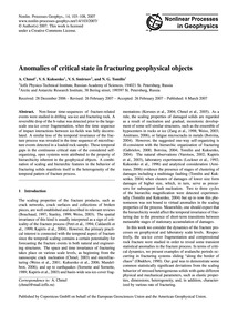 Anomalies of Critical State in Fracturin... by Chmel, A.