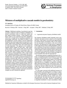 Mixtures of Multiplicative Cascade Model... by Agterberg, F. P.