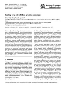 Scaling Property of Ideal Granitic Seque... by Xu, D.