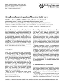 Strongly Nonlinear Steepening of Long In... by Zahibo, N.
