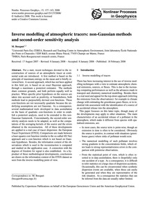 Inverse Modelling of Atmospheric Tracers... by Bocquet, M.