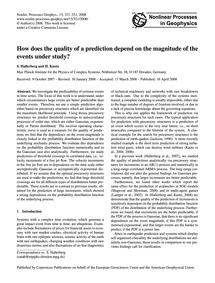 How Does the Quality of a Prediction Dep... by Hallerberg, S.
