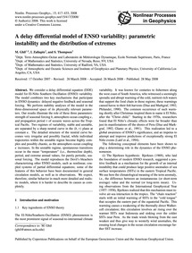 A Delay Differential Model of Enso Varia... by Ghil, M.