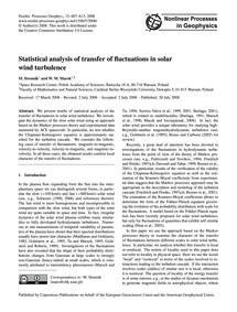 Statistical Analysis of Transfer of Fluc... by Strumik, M.