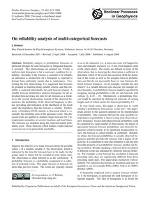 On Reliability Analysis of Multi-categor... by Bröcker, J.